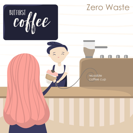 Illustration with girl in coffee house and barista. Attributes of zero waste
