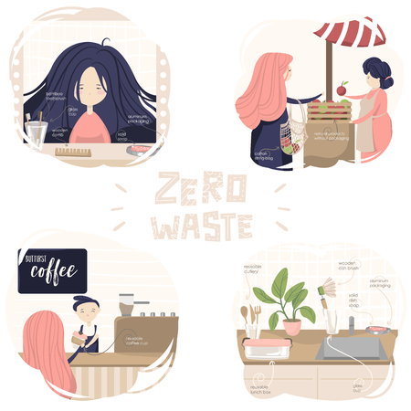situations of zero waste lifestyle: in bathroom, food market, coffee house and kitchen with text