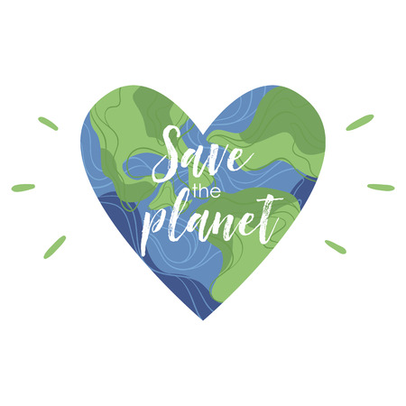 Planet earth in the shape of a heart with plants and flowers. Isolated illustration
