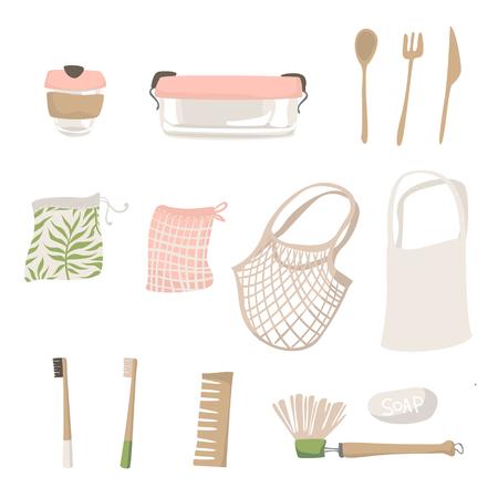 Attributes of zero waste lifestyle. Isolated illustration