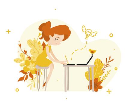 Ginger girl illustrator draws on a graphic tablet flat illustration  イラスト・ベクター素材