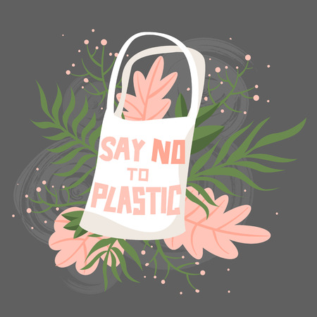 Fabric bag with flowers and text say no to plastic. Zero waste illustration 일러스트