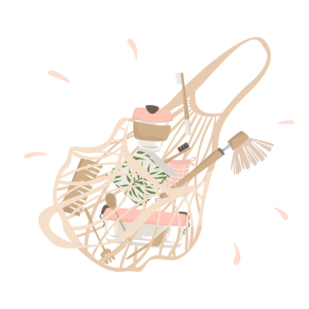From cotton string bag spilled out attributes of zero waste lifestyle. Isolated illustration Illustration