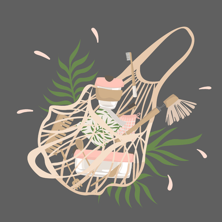 From cotton string bag with plants spilled out attributes of zero waste lifestyle. Illustration