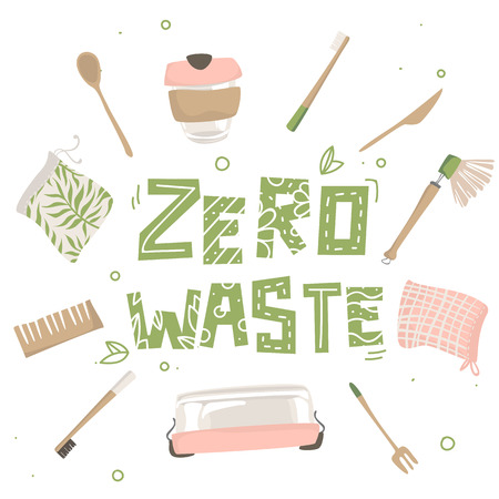 Attributes of zero waste lifestyle and text. Isolated illustration