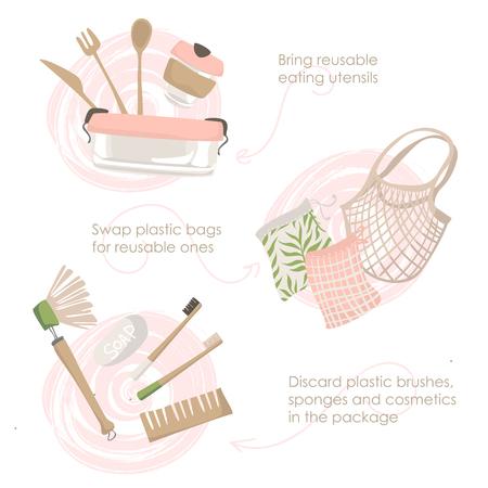 Steps to zero waste lifestyle on white background