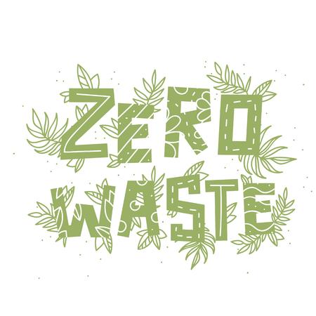text zero waste and plants on white background Ilustração