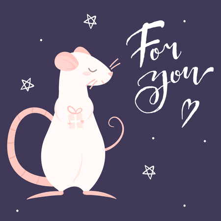 Pink rat gives a gift and lettering for you