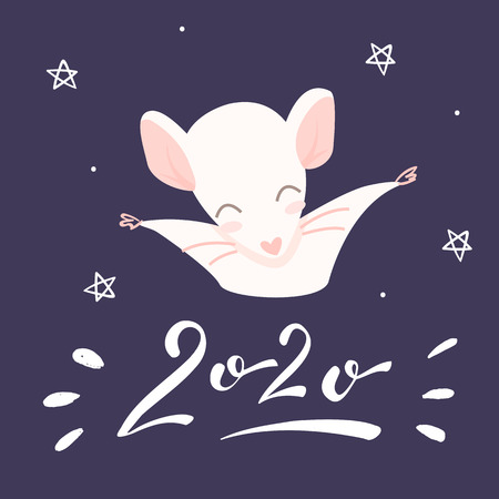 Pink rat and lettering 2020 on the violet background