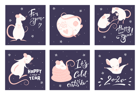 Set of new year greeting cards with pink rats and lettering on a purple background Illustration