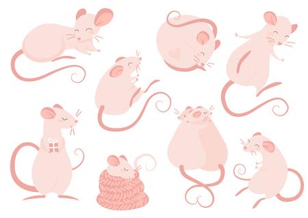 Set of pink rats isolated illustration on white background  イラスト・ベクター素材