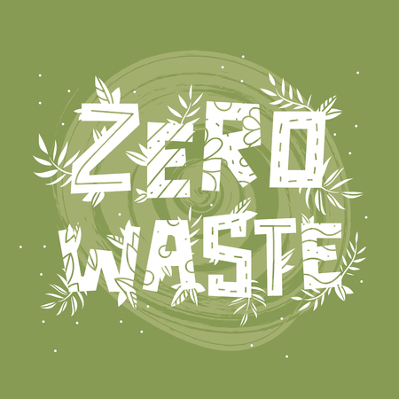 text zero waste and plants on green background