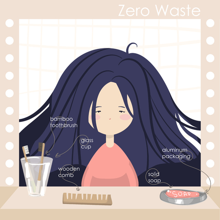 Illustration with girl in bathroom. Attributes of zero waste lifestyle