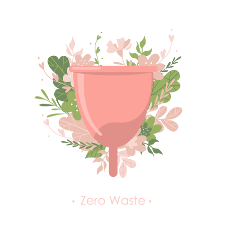 Menstrual cup with plants and flowers. Text Zero waste. Isolated illustration Illustration