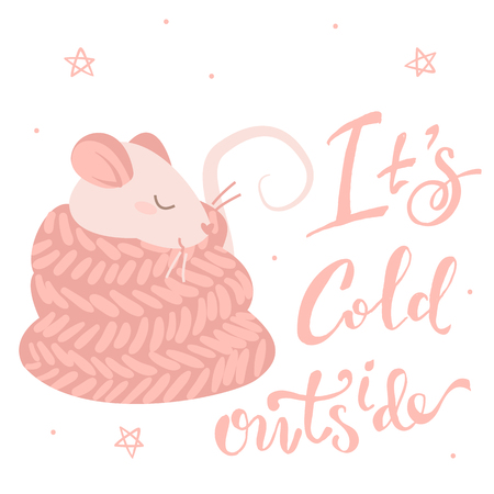 Pink rat in a scarf and lettering its cold outside, isolated illustration on white background