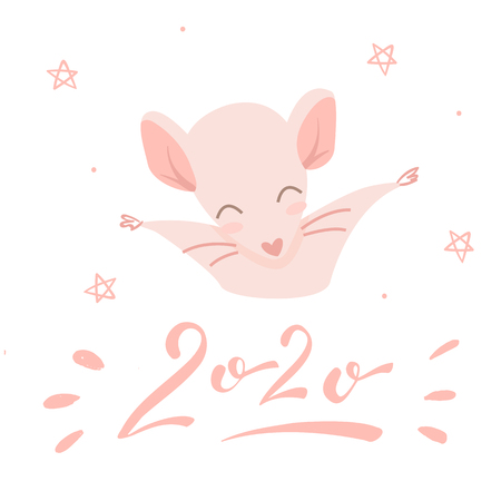 Pink rat and lettering 2020, isolated illustration on white background
