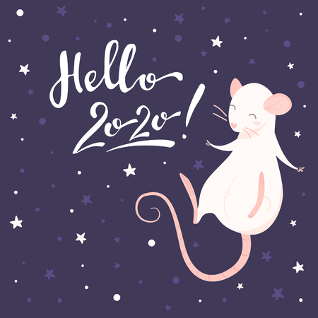 Pink rat and lettering hello 2020 on a purple background Illustration
