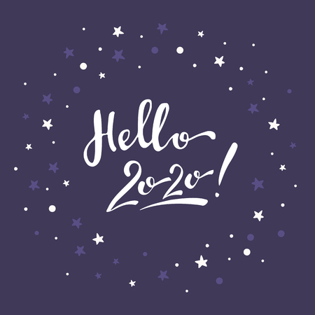 Lettering hello 2020 on a purple background with white polka dot and stars greeting card