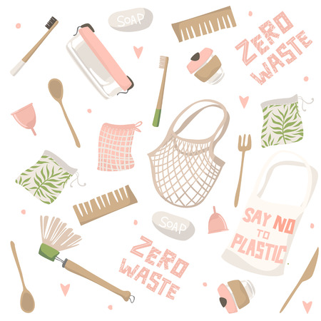 Pattern with attributes of zero waste lifestyle. Isolated illustration
