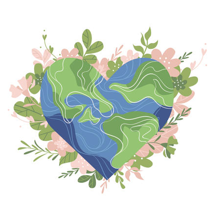 Planet earth in the shape of a heart with plants and flowers.