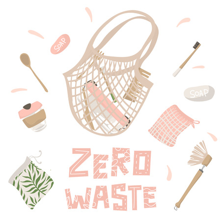 Cotton string bag and attributes of zero waste lifestyle. Isolated illustration Illustration