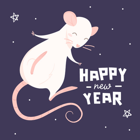 Pink rat and lettering happy new year on a purple background