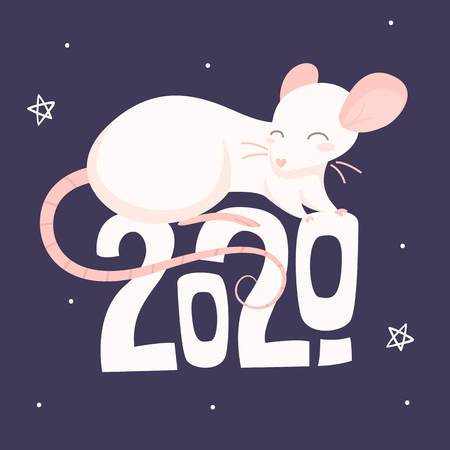 Pink rat is sitting on the text 2020 on a purple background