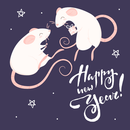 Two pink rats and lettering happy new year on a purple background Illustration