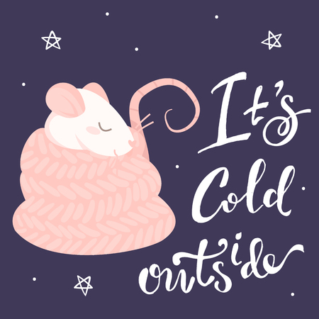 Pink rat in a scarf and lettering its cold outside on a purple background