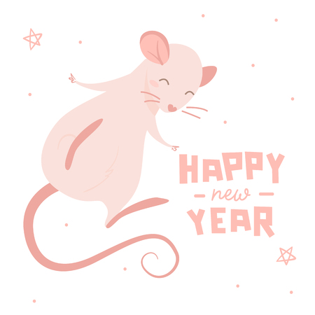 Pink rat and lettering happy new year, isolated illustration on white background 일러스트