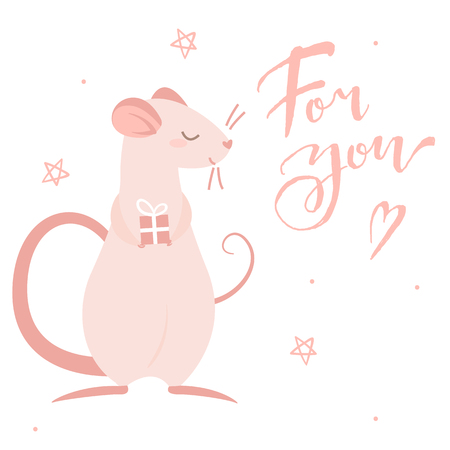 Pink rat gives a gift and lettering for you, isolated illustration 일러스트