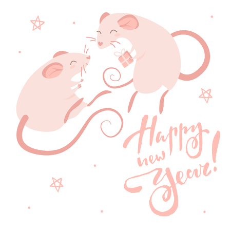 Two pink rats and lettering happy new year, isolated illustration on white background Illustration