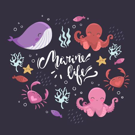 Sea inhabitants. Octopus, starfish, whale, fish crabs and algae Lettering marine life