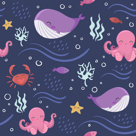 Seamless pattern with sea inhabitants: octopus, fish, starfish, whale, crabs and algae on blue background Illustration