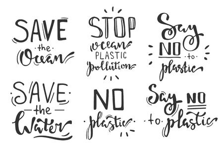 Hand lettering phrases set: save the ocean, stop ocean plastic pollution, say no to plastic, save the water. Isolated on white background