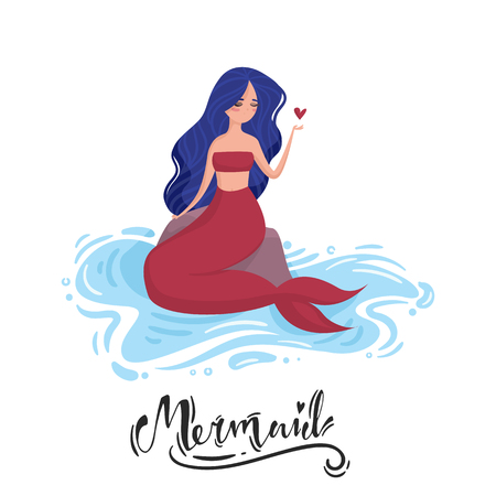 Mermaid with blue hair and red tail sits on a stone in the water and holding a heart. Lettering. Illustration
