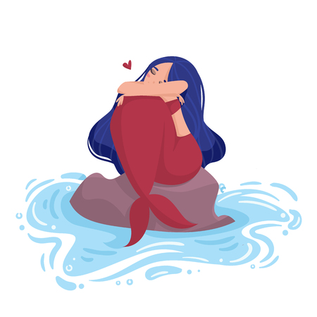 Mermaid with blue hair and red tail sits on a stone in the water and hugging knees. Illustration