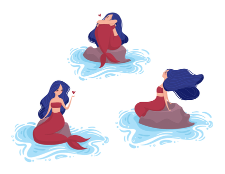 Set of 3 mermaid with blue hair and red tail sit on a stone in the water. Illustration