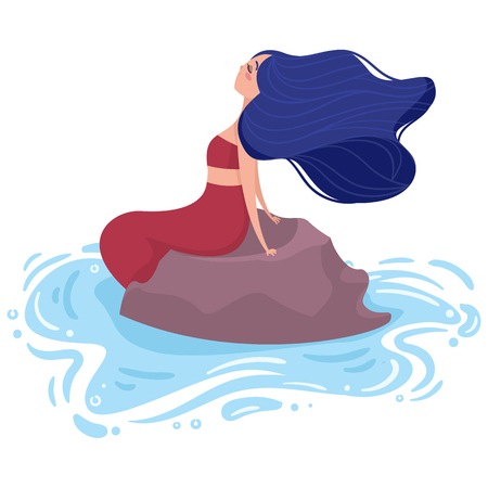Mermaid with blue hair and red tail sits on a stone in the water. Side view. Illustration