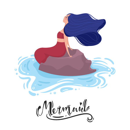Mermaid with blue hair and red tail sits on a stone in the water. Side view. Lettering.