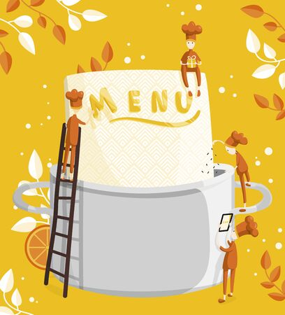 Little characters cooks come up with a menu. Illustration of menu creation for a restaurant or cafe
