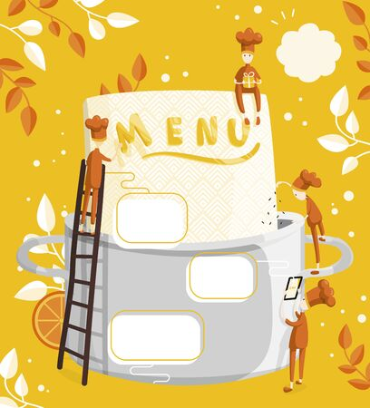 Little characters cooks come up with a menu. Field for text. Illustration of menu creation for a restaurant or cafe 向量圖像