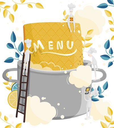 Little characters cooks come up with a menu. Field for text. Illustration of menu creation for a restaurant or cafe Ilustrace