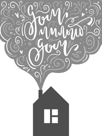 Lettering phrase in russian language in the smoke from the chimney of the house. Translation: home sweet home. Colorful greeting card in scandinavian style