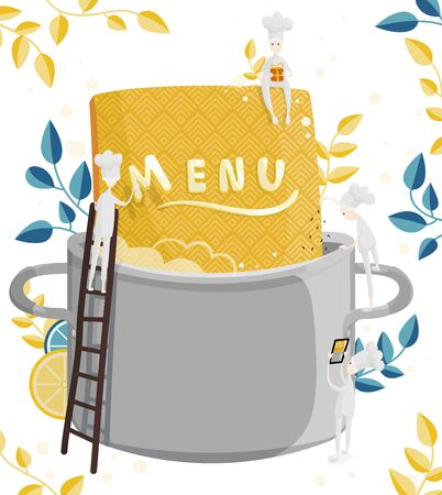 Little characters cooks come up with a menu. Colorful illustration of menu creation for a restaurant or cafe 向量圖像