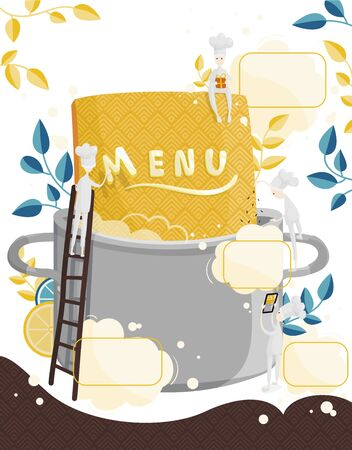 Little characters cooks come up with a menu. Field for text. Colorful illustration of menu creation for a restaurant or cafe