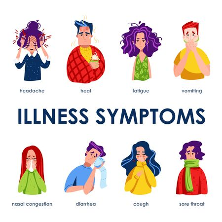 Set of sick characters with disease symptoms