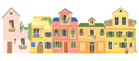 People are sitting at home in multi-colored buildings