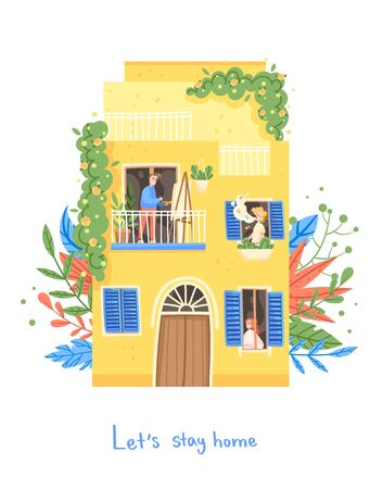 People are sitting at home, inscription Lets stay home. The artist draws on the balcony, the girl in the window, the man sings Illustration