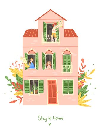 People are sitting at home, inscription Stay at home. Singer on the balcony, man is playing the saxophone, girl at the window.